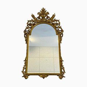 Antiker goldfarbener Spiegel mit massivem Holzrahmen