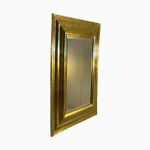 Gold-Colored Mirror with Two Lamps
