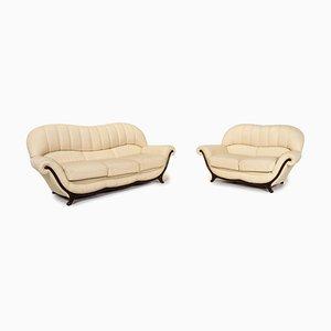 Sofa Set aus Leder & Holz von Nieri