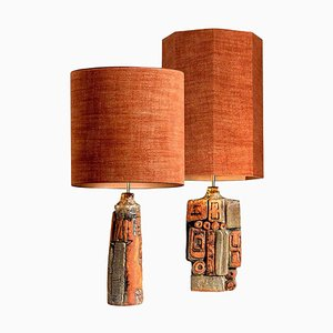 Ceramic Lamps with Custom Lampshades by Bernard Rooke, Set of 2