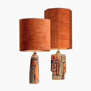 Keramik Lampen mit Maßgefertigten Lampenschirmen von Bernard Rooke, 2er Set
