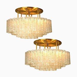 Große Deckenlampen aus Mundgeblasenem Glas & Messing von Doria, 2er Set