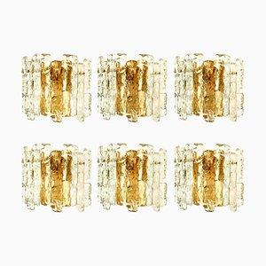 Ice Glass Wall Sconces with Brass Tone by J.T Kalmar, Set of 6