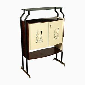 Bar Cabinet in Mahogany Veneer, Glass, Metal & Polyester, 1950s