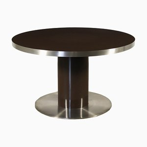 Table in Lacquered Wood & Chromed Metal, 1970s