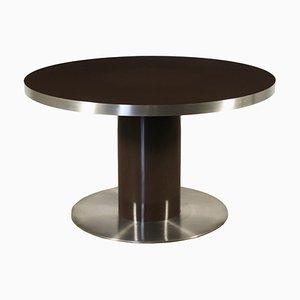 Tavolo in legno laccato e metallo cromato, anni '70