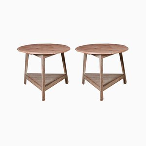 English Painted Cricket Tables, Set of 2