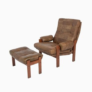Swedish Modern Patchwork Leather Armchair with Ottoman, 1960s