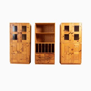 Scandinavian Modern Solid Oregon Pine Cabinets, 1960s, Set of 6
