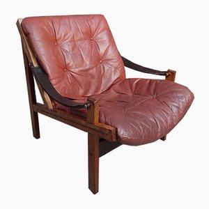 Brown Leather Sling Armchair by Torbjørn Afdal