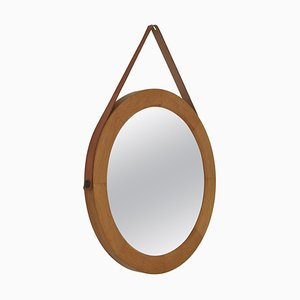 Vintage Danish Modern Oval Mirror In Oak with Leather Strap, 1967