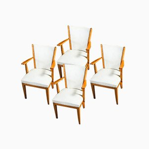 Weiße Vinyl Eichenholz Stühle, 1950er, 4er Set