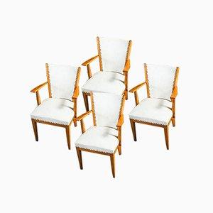 White Vinyl Oak Chairs, 1950s, Set of 4