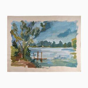 Laconic Landschaft, See und Landschaft, Papier