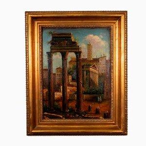Inconnu, Vue du Forum Romain, Peinture à l'Huile, Début 20ème Siècle