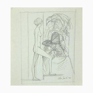 Leo Guida, The Sibyl, Dessin à la Mine sur Papier, 1970