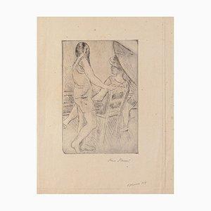 Mino Maccari, Figure, Drypoint on Cardboard, Early 20th Century