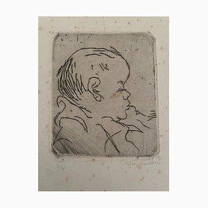 Mino Maccari, Portrait of A Baby, Etching on Cardboard, 20th Century