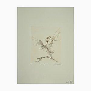 Leone Guida, Bird on A Branch, Incisione, 1970