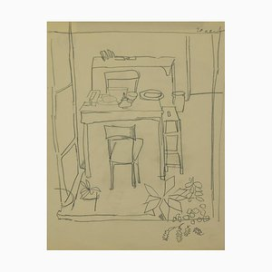 Herta Hausmann, The Dining Table, Pencil Drawing, Mid-20th Century