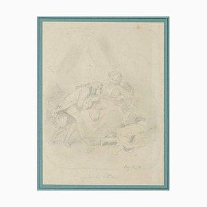 Desconocido, Retrato de familia, Lápiz, principios del siglo XIX