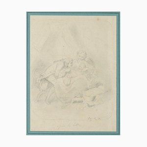 Unknown, Family Portrait, Pencil, Early 19th Century