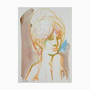 Leone Guida, Ritratto femminile, pastello e acquerello, anni '60