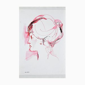 Leo Guida, Price, Woman Portrait, Tusche & Wasserfarbe Zeichnung, 1960er