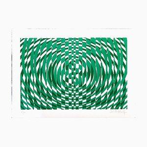 Victor Debach, Grüne Komposition, Siebdruck, 1970er
