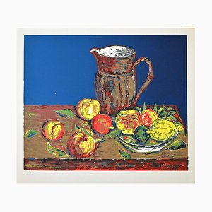 Unknown, Still Life, Screen Print on Paper Signed Piscini, Late 20th Century