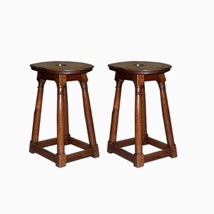 Oak Stools, Set of 2