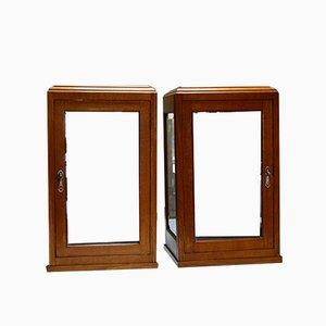 Abgeschrägte Schränke aus Eiche & Glas, 2er Set