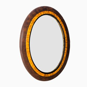 Art Deco Style Oval Mirror with Briarwood Frame