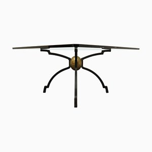 Iron and Brass Coffee Table by Peter Ghyczy