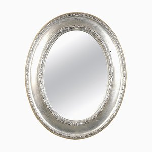 Neoclassical Empire Style Oval Silver Hand Carved Wooden Mirror, Spain, 1970s