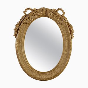 Neoclassical Regency Style Gold Foil Hand Carved Wooden Mirror, 1970s