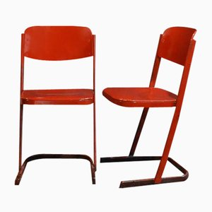 Burgundy School Chairs, Set of 2