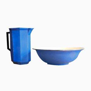 Blue Ceramic Wash Pitcher with Wash Bowl, Set of 2