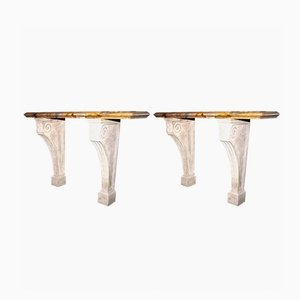 Table Console Antique en Marbre Sarrancolin, Set de 2