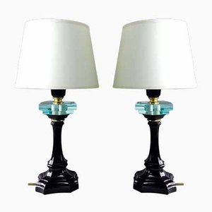 Italian Solid Brass & Black Enamel Table Lamps with Hexagonal Crystals by Ignoto for Lampart, 1970s, Set of 2