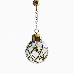 Italian Blown Murano Glass & Gilt Metal Ceiling Lamp, 1960s