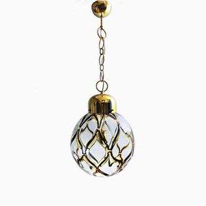 Italienische Deckenlampe aus geblasenem Murano Glas & vergoldetem Metall, 1960er