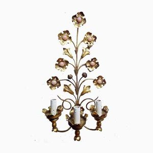 Handcrafted Italian Florentine Style Gilt Metal Sconces, 1950s, Set of 2