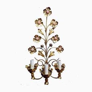 Handgefertigte italienische Florentiner Wandleuchten aus vergoldetem Metall, 1950er, 2er Set