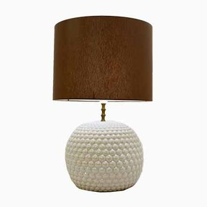 Iridescent White Ceramic Globe Table Lamp, 1950s