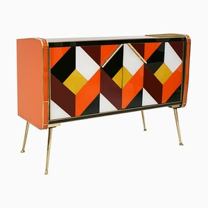 Mid-Century Style Italian Solid Wood, Colored Glass & Brass Sideboard