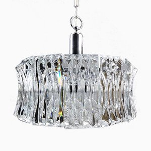 Italienische Paolo Venini Stil Glas & Verchromte Metall Deckenlampe, 1960er