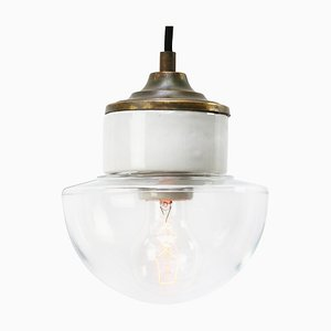 Mid-Century Industrial White Porcelain, Clear Glass & Brass Pendant Lamp