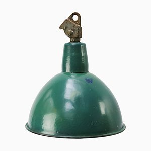 Mid-Century Industrial Petrol Green Enamel Pendant Lamp