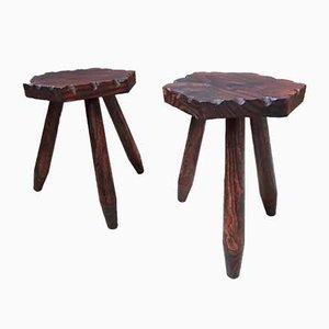Rustic Wood Tripod Stools, 1950s, Set of 2